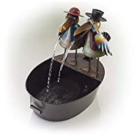 ‏‪Alpine Corporation Metal Crow Fountain - Outdoor Water Fountain for Garden, Patio, Deck, Porch - Yard Art Decor‬‏