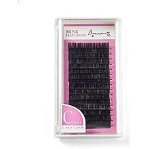 Beauty7 12mm Flat Lash Pestañas Postizas Extensión Ligero Natural Remy Mate Suavidad Plana del Pelo 0.15mm que el Pelo Redondo Ordinario 0.07mm Suave Importación de Fibra PBT Individuales Suave Plano Negro