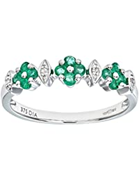 Naava Ladies 9ct White Gold Diamond And Emerald Eternity Ring