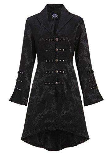 Pretty Attitude Schwarzer viktorianischer Damen Gothik Mantel Jacke mit Schnürung am Rücken - Gr. L
