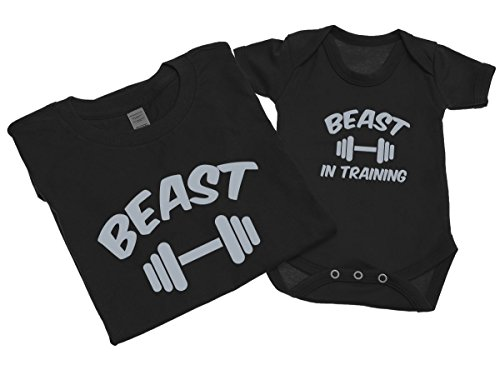 beast-and-beast-in-training-mens-t-shirt-with-short-sleeve-bodysuit-matching-gift-set-xl-0-3-black