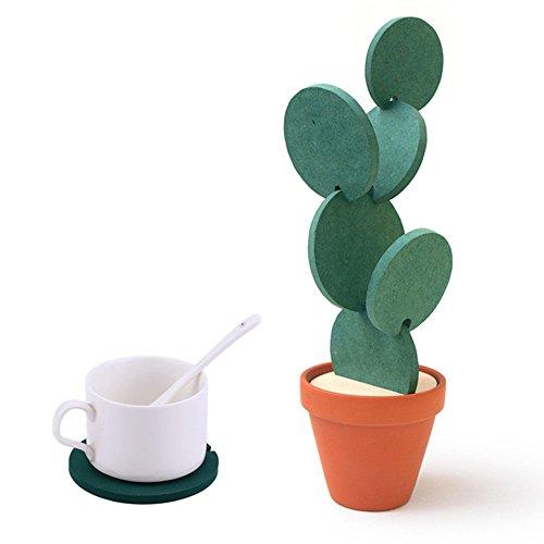WCOCOW Untersetzer-Sets mit Halter, 6-teilig Grün DIY Kaktus geformt Untersetzer Baum-Set für das Trinken, Urlaub Geschenk & Home Decoration (6Set-Green)