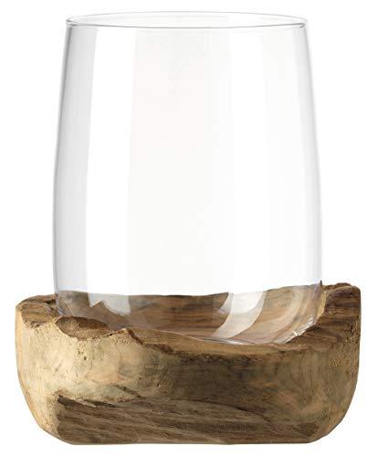 LEONARDO HOME Windlicht Terra 27 cm mit Teaksockel, Glas und Holz
