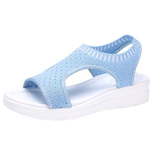 B-commerce Frauen Baumwollgewebe Mesh Sandalen - Damen Atmungsaktiv Komfort Aushöhlen Lässige Wedges Tuch Schuhe Freizeit Peep Toe Sandalen Nylon Wedges