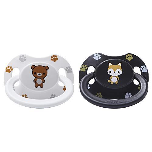 LittleForBig Erwachsene Größe Schnuller Dummy für ADULT BABY ABDL Gedruckte Set-Schwarz Fuchs und Weiß (Erwachsene Größe Teddybären)