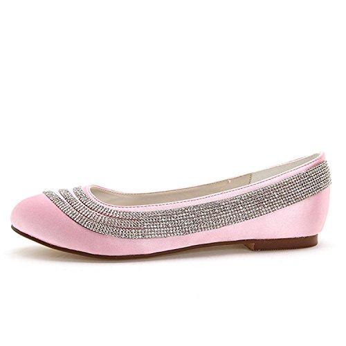 Elobaby Décolleté Donna D9872-13 Scarpe Stringate da Sposa con Tacco a Punta Chiusa con Gattino Pink