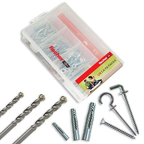 Fischer Kit Easy 89 pezzi, Tasselli UX con Viti Assortite e Punte Trapano per Fissaggio su Muro Pieno, Forati, Cartongesso e Lastre, 513432