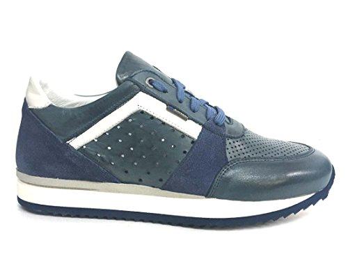 Exton 558 navy scarpa uomo sneaker running made in italy pelle