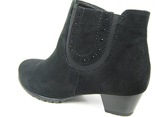 Ara Damen Stiefel/Stiefelette Samtchevro-Leder, RV, herausnehmbares Fußbett, 35 mm Absatz, schwarz Weite H