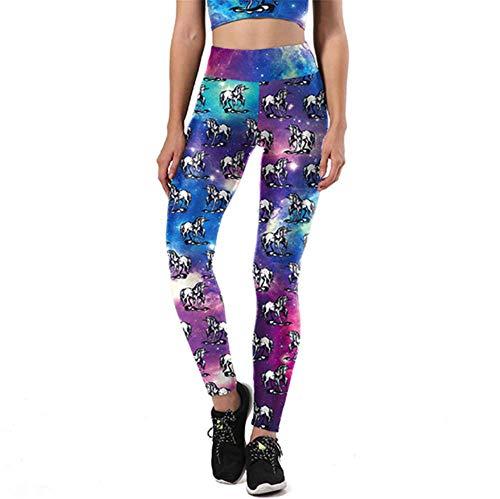 spricen Leggings mujer deporte pantaLones eLásticos de yoga de impresión en 3D Estrella unicornio XL