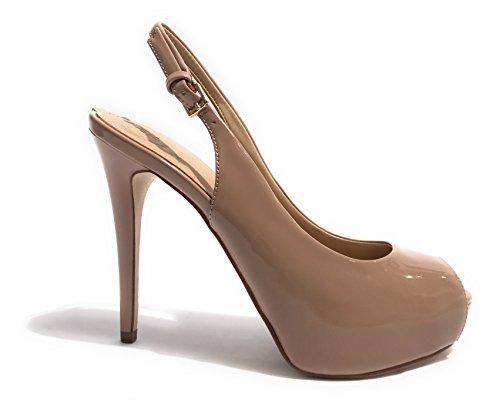 Guess Footwear Dress Sling Back, Col Échancré Tacco Avec Plateau Donna Nude