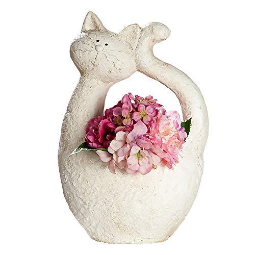 GILDE Pflanztopf 'Katze' aus Magnesi, 46 cm, Creme