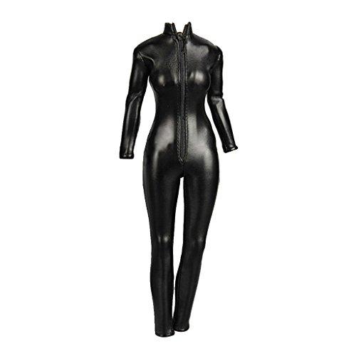 Gazechimp 1:6 Weibliche Figuren Kunstleder Overall Jumpsuit Kleidung mit Reißverschluss Schwarz 24cm (Black Widow Outfit)