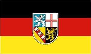 Fahne Bundesland SAARLAND Flagge, Grösse: ca. 90x150 cm, Ordentliche Qualität - KEINE hauchdünne Chinaware - Stoffgewicht ca. 90 gr/m2