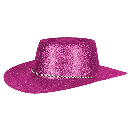 Ciffre Texas Westernhut Party Hut Sheriff Fasching Masken Perücke Maske - Cowboyhut Glitzer Look Fuchsia Pink
