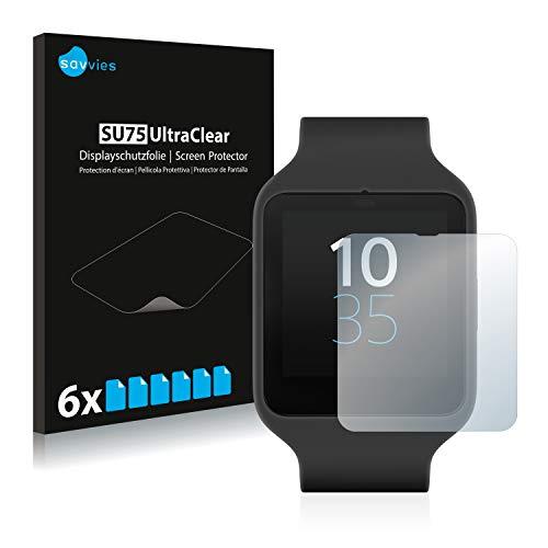 Savvies Schutzfolie kompatibel mit Sony Smartwatch 3 SWR50 (6 Stück) - ultraklare Bildschirmschutz-Folie