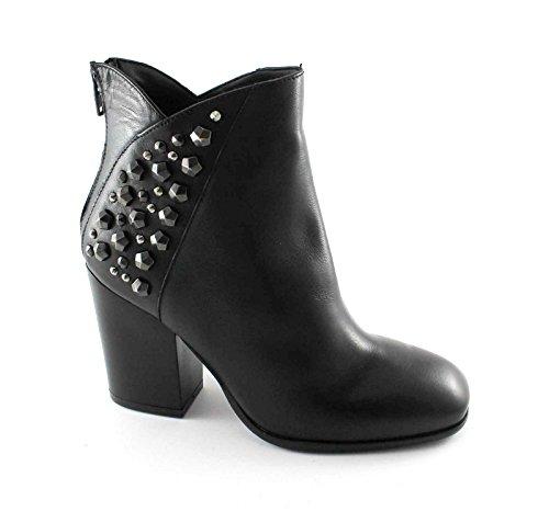 DIVINE FOLLIE 419644 nero stivaletti donna tronchetti pelle zip tacco 38