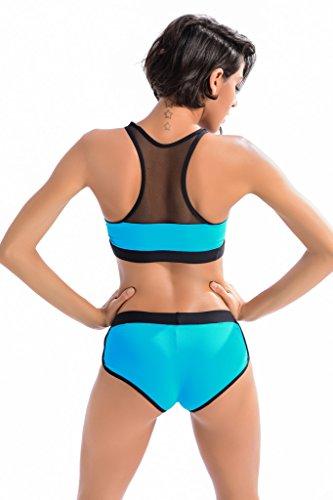 Peacoco Femmes sport natation costume deux pièces bikini maillot de bain vêtements de bain 7014 Blue