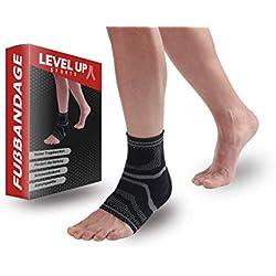 Levelup-Sports - Fußbandage Premium Qualität - Sprunggelenk-Bandage für Schmerzlinderung, Stabilisierung, Schutz und Kompression - Für Fitness und Sport - links & rechts tragbar (M)
