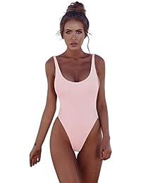 Amcool Damen Swimwear One Piece Push-Up Padded Backless Beachwear Bathing  Suits 32a65f7cc9