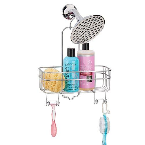 mDesign Bad Duschablage ohne Bohren - erweiterbare Hängeablage mit Aufbewahrungskorb und 4 Haken für die Dusche - platzsparendes Duschregal aus Metall - silber