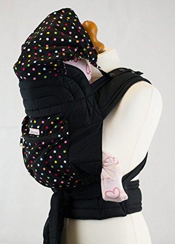 Palm and Pond Mei Tai fascia portabebè con cappuccio e tasca - Nero con pois