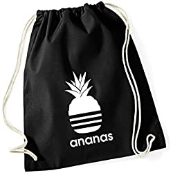 Baumwoll Turnbeutel mit Spruch Motiv Ananas Hipster Sport Jute Tasche Gym Bag Black (Druck weiß)