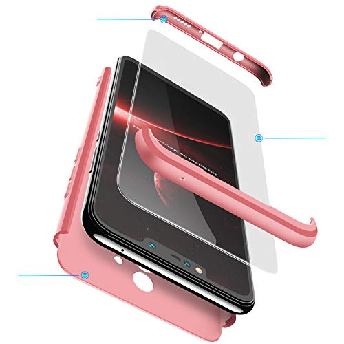 2ndSpring Huawei Mate 10 Lite Hülle, Mate 10 Lite Handyhülle 3 in 1 Ultra Dünner PC Harte Schutzhülle 360 Grad Hülle + Panzerglas für Mate 10 Lite Komplett Hülle Fullbody Case Cover Rose Gold
