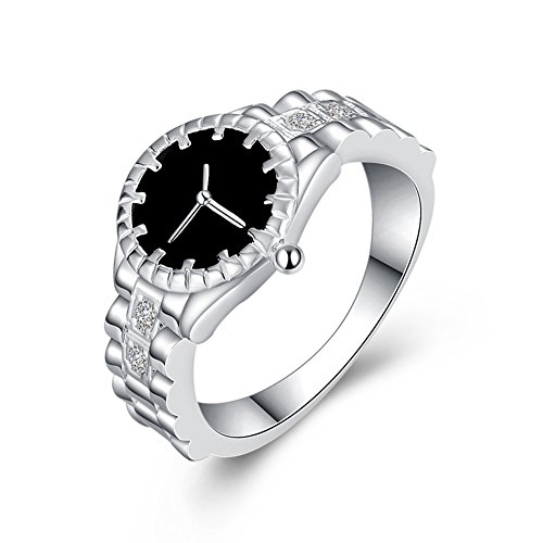 Kentop-Finger-Uhr-Kreativ-Schmuck-Silber-Ringuhr-mit-Strass-Uhrenring-Geschenk