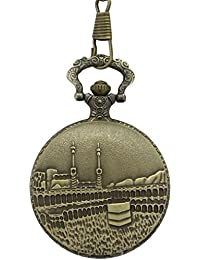 "Dice ""Leader Pocket Watch –B504"" Unisex Antique case Classic Vintage Brass Rib Chain Quartz, Made of Brass .Outer Body Shows Embossed The Islamic Holy Kaaba masjid Sacred to Muslims."