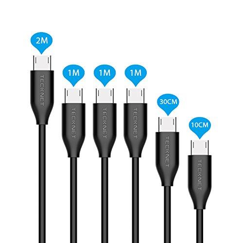 Cable Micro USB Carga TeckNet Micro USB Kabel [Pack de 6] - GARANTÍA DE POR VIDA - 2.4A USB Micro Cable para cargar - Cargador Micro USB Sincro y carga usb para dispositivos Android, Samsung Galaxy, TCL, Sony, Nexus, Sprint y más