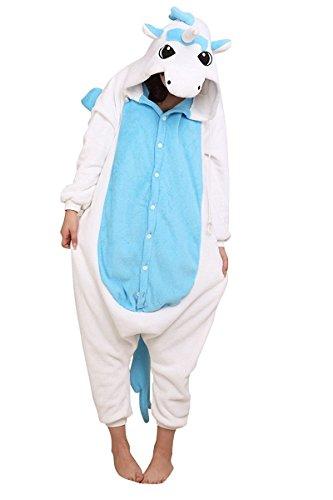 Für Kostüme Einhorn Frauen (Anbelarui Einhorn Kostüm Pyjamas Tierkostüm Schlafanzug Verkleiden Cosplay Kostüm zum Karneval Fasching ( Blaue und Weiße)