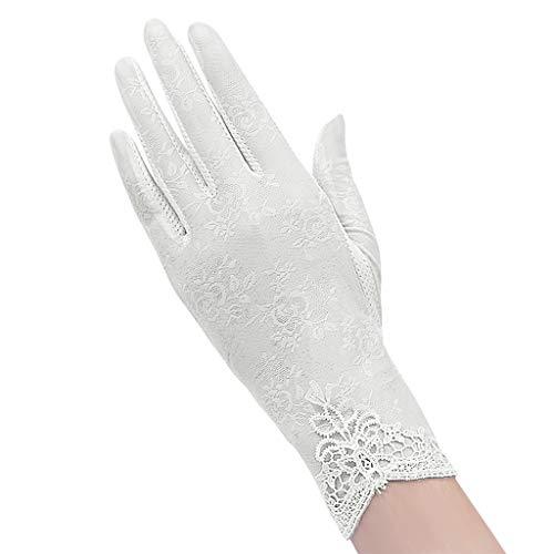 YJZQ Damen Hübsch Handschuhe Spitze Weiß Damenhaft Retro Handschuhe Edel Sommer Satin Handschuhe Dünner Abschnitt Lace für Hochzeit Opera Tanzparty Party Reiten Schwarz (Weiße Spitzen Handschuhe)