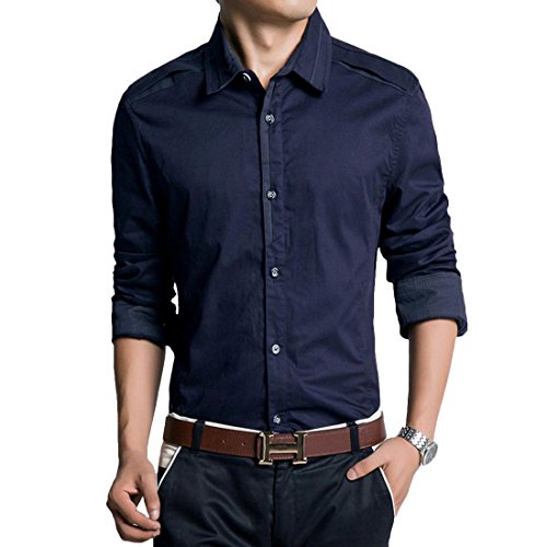 Jeansian Hommes Fashion Shirt Chemises Casual Manches Longues Solid Color Men's Brief Casual Shirt Slim Fit Tops MCF006 DarkBlue