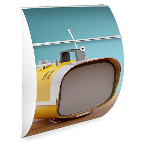 Burg Wächter Design Briefkasten | Riviera 46cmx33,5cmx13cm groß | verzinkter Stahl Weiß | Postkasten mit Öffnungsstopp, großer A4 Einwurf, Zylinderschloss, 2 Schlüssel | Motiv Tragbarer Fernseher