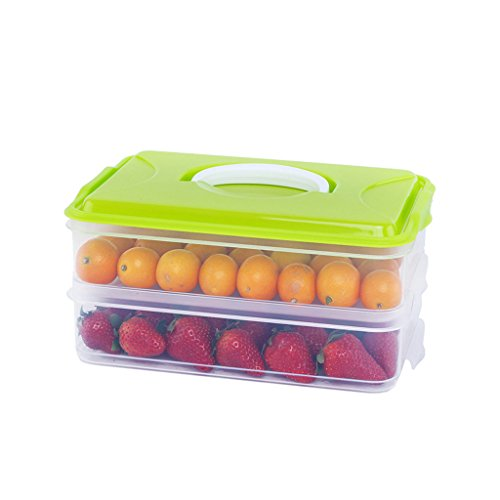 Liling Knödel Box Gefrorene Knödel Mehrschichtige Gefrorene Kühlschrank Aufbewahrungsbox Knödel Box Eierbox mit Deckel Wonton Paletten Aufbewahrungsbox (Color : Green) -