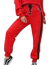 625fd653effb Fräulein Fox Femmes Pantalon de Sport Fashion Patchwork Pantalons avec  Bandage Casual Haute Taille Longue Pants Sweatpants de Jogging…