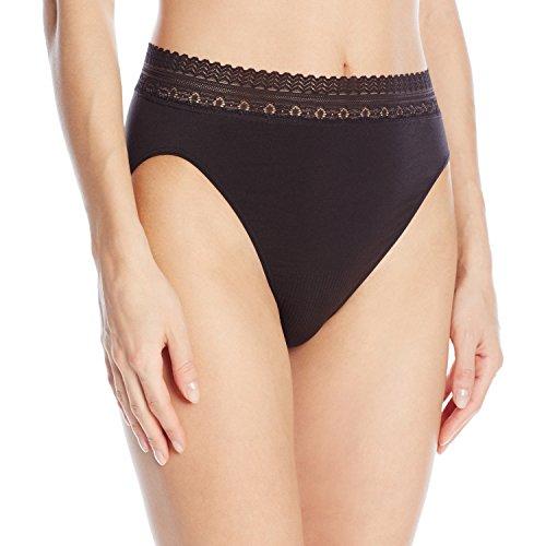 Bali Women's Comfort Revolution Seamless High-Cut Brief Panty, Black Lace, 6/7 (Briefs Bali Panties)