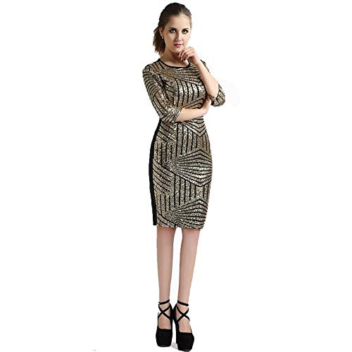 QIANZHIHED Kleid Ladies Tie Dress Nightclub Rock Mesh Pailletten Vorne Und Hinten Spleißen Fashion Dress, M -