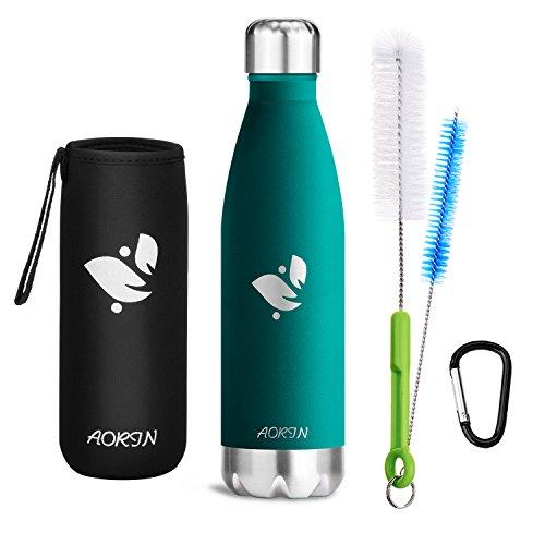 Aorin Vakuum-Isolierte Trinkflasche aus Hochwertigem Edelstahl - 24 Std Kühlen & 12 Std Warmhalten Pulverlackierung Kratzfestigkeit Leicht zu reinigen. (Blauer See-750ml)