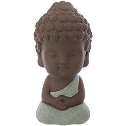 LU2000colecciones Mini Estatua de Buda para la meditación de escritorio Decor Beautiful Cute monje niño rojo porcelana hecho–figura decorativa (aprox.) 4Inch–Luz Rojo, porcelana, azul claro, 10,16 cm