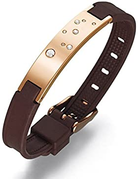 Lunavit Jupiter Gold Damen Magnetarmband, rosé-vergoldete Schmuckplatte mit acht Swarovski-Elements sowie zwei...