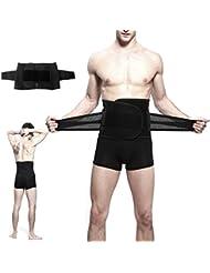 """Cintura Trimmer, pupow Cinturón de entrenamiento de cintura ajustable hombres y mujeres Abdomen Trim Cinturón perder peso inferior de la espalda y Lumbar Soporta 9""""de ancho Negro sin esfuerzo Cintura Cinturón para adelgazar, Extra Large(9"""" wide-Fits for 31""""-34"""" waist)"""