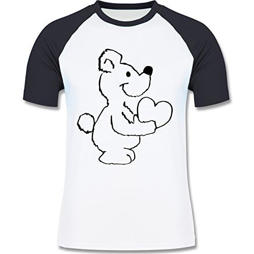 Romantisch - Herzbär - Herren Baseball Shirt Weiß/Navy Blau