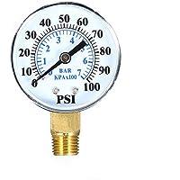 KKmoon 0~100psi 0~7bar Medidor de presión mecánica de doble escala Filtro de piscina Medidor de presión de gas de aire de agua de acuario Medidor 1/4 pulgadas NPT Montaje inferior