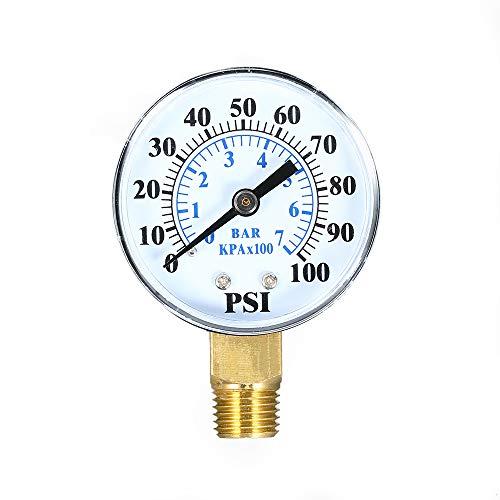Walmeck Dual Scale Mechanische Manometer 0~100 psi 0~7bar 1/4 zoll NPT Bottom Mount Pool Filter Aquarium Wasser Luftdruckprüfer Gas Manometer Meter