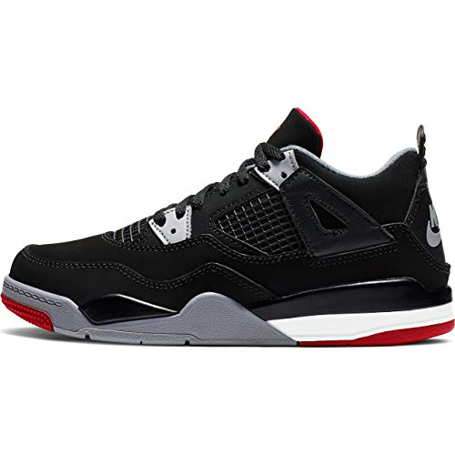 Nike Jordan 4 Retro (Ps) - black/fire red-cement grey-summit w, Größe:12C -