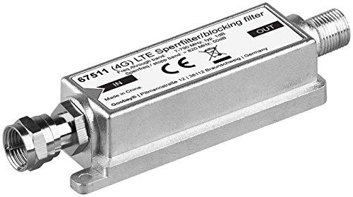 Goobay 67511 LTE (4G) Sperrfilter für besseren DVB-T Empfang, F-Stecker F-Buchse silber