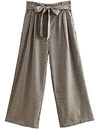 adcd7a5d7cdd2 Moda para Mujer Cintura Alta A Cuadros Costura Pantalones de Pierna Ancha  Sueltos Ocasionales Pantalones