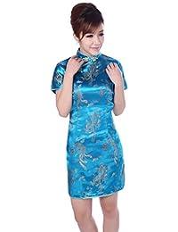 dec40ead33f9 BOLAWOO-77 Abito da Donna Abito Vintage per Donne Le Stile Mode di Marca  Etnico Cheongsam Qipao Abito da Sera Cinese Manica Corta…